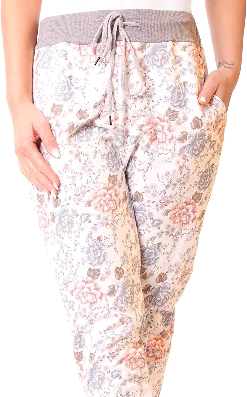 Easy Young Fashion Damen Hose Jogginghose Boyfriend Sweatpants Sweat Jogger Sporthose All-Over Print