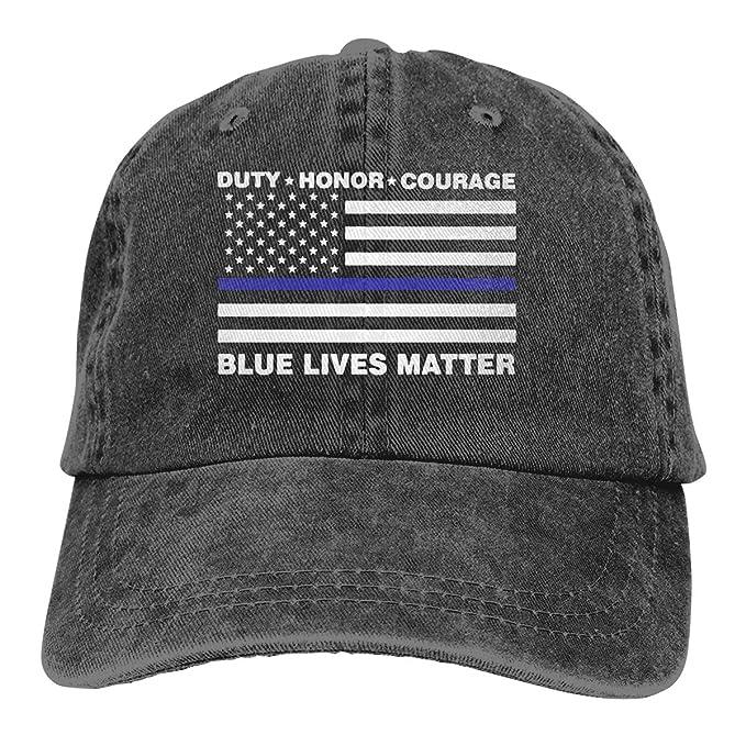 c00af4154bf Blue Lives Matter Police Blue Line Us Flag Adult Personalize Denim  Casquette Adjustable Baseball Cap