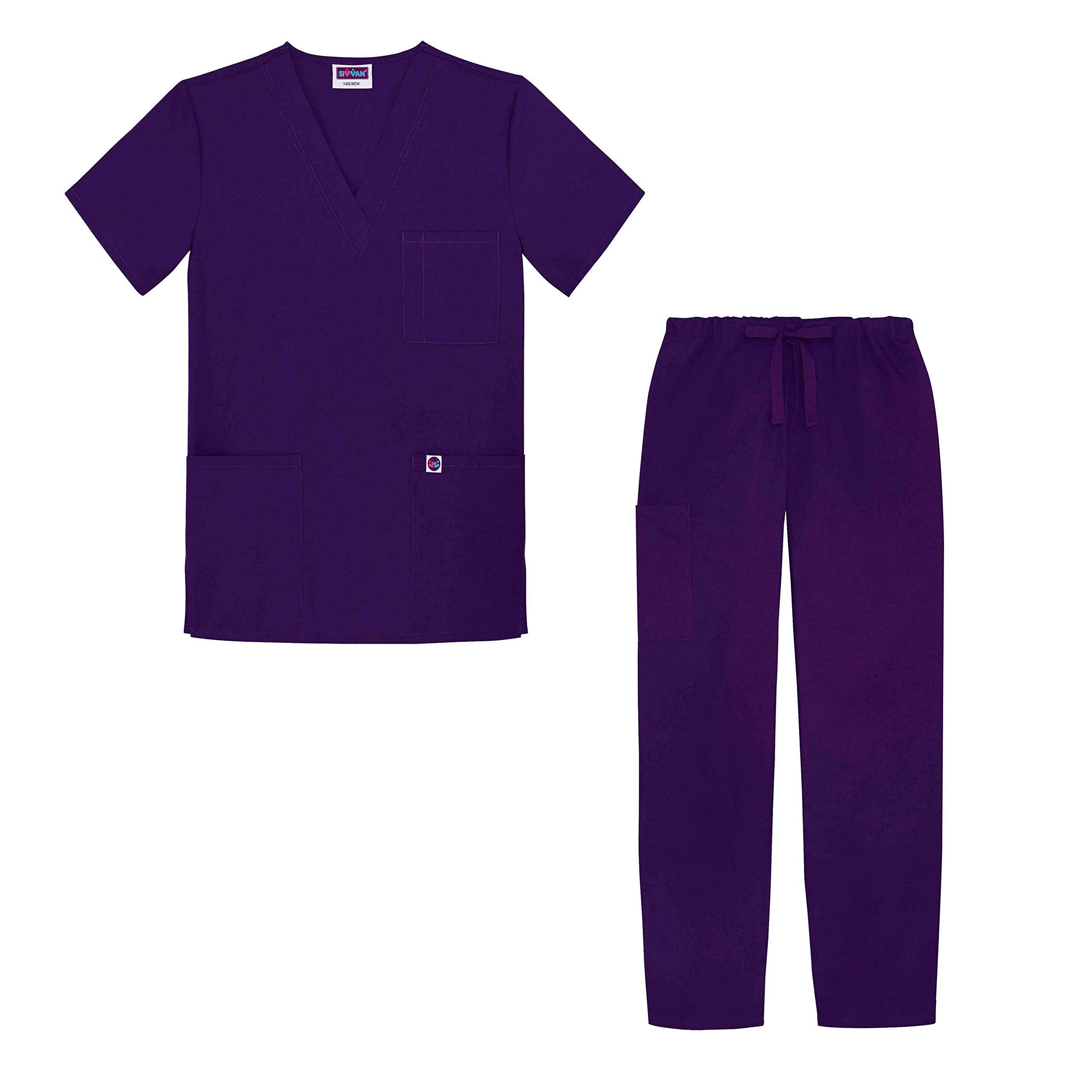 Sivvan Unisex Classic Scrub Set V-neck Top/Drawstring Pants - S8400 - Purple - 2X