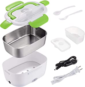 ReaseJoy Electric 1.5L Portable Heating Lunch Box Food Storage Warmer w/Stainless Steel & PP Removable Container Green