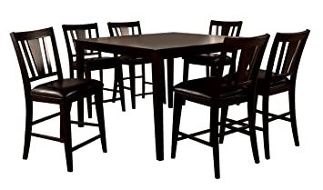 Bridgette Espresso Finish 7 Piece Counter Height Dining Set