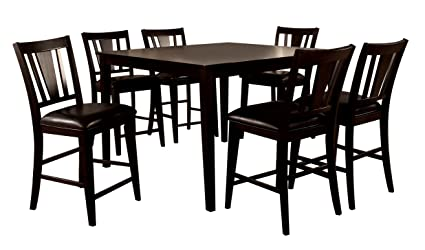 247SHOPATHOME IDF 3325PT 7PC Dining Room, 7 Piece Set, Brown