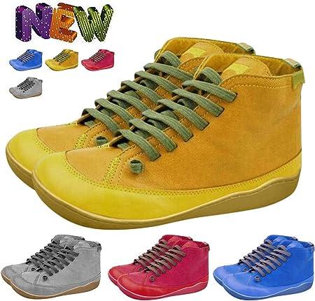 MOMOXI 2019 2020 Nueva Cremallera Lateral Casual para Damas Retro con Botines De Cabeza Redonda De SóLido para Mujer, Botas de Cordones Retro de Cuero Plano para Mujer Botas de Zapato con Punta 35-43