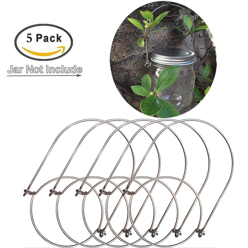 Mason Jar Hangers, Stainless Steel Wire Handles (Handle-Ease) for Mason,Ball,Kerr,Golden Harvest,Kilner Canning Jars (5Pack-Regular Mouth)