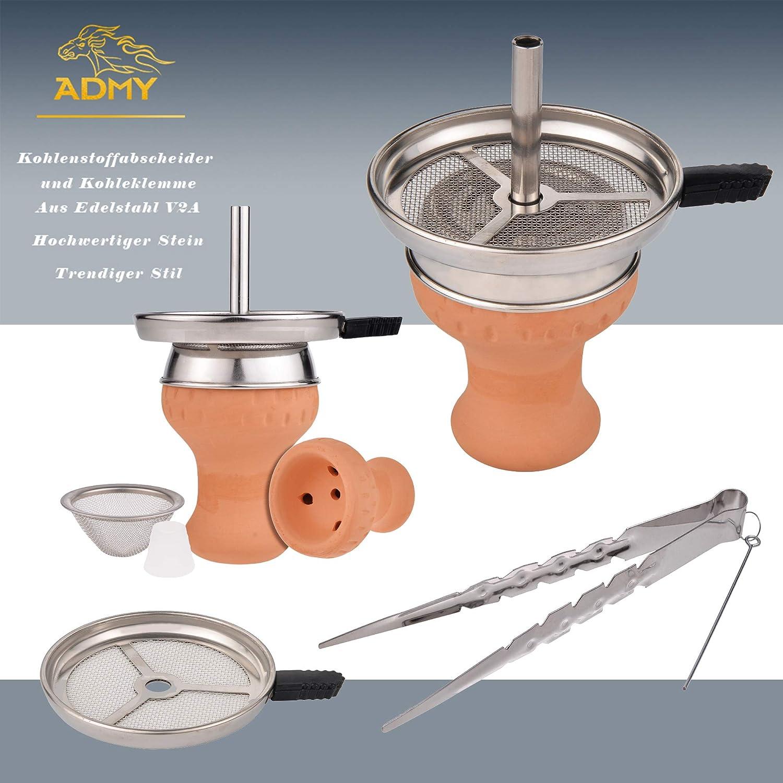 ADMY® - Shisha grande de acero inoxidable plateado, juego completo para chimenea con 4 conexiones, adaptador de cabeza, manguera de silicona, boquilla ...