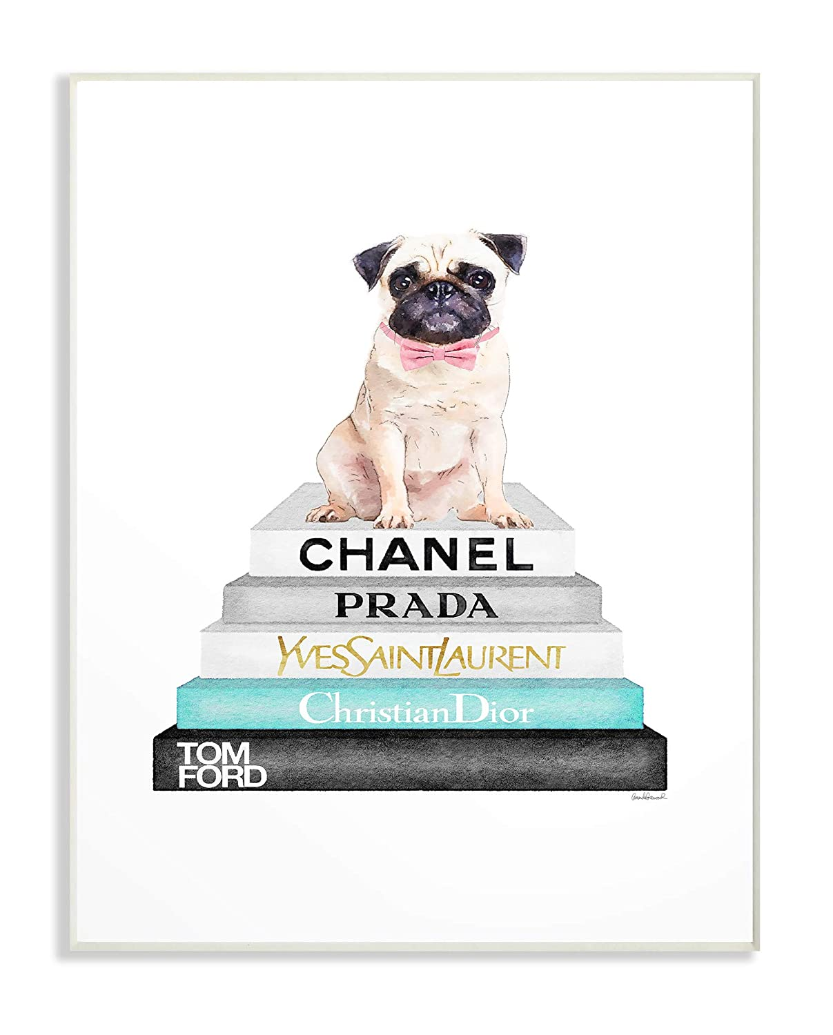 The Stupell Home Decor Grey Teal and Black Fashion Bookstack with Pug Framed Giclee Texturized Art 24 x 30 Multi-Color