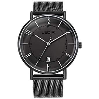 b2a23d712d3 JEDIR Men s Watches Black Analogue Quartz Watch for Men Classic Minimalist  Stylish Design and Milanese Mesh Band