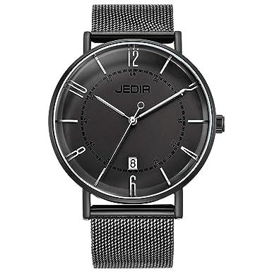 BUREI Men Fashion Slim Minimalist Quartz Wrist Watches with Big Dial Stainless Steel Leather Band