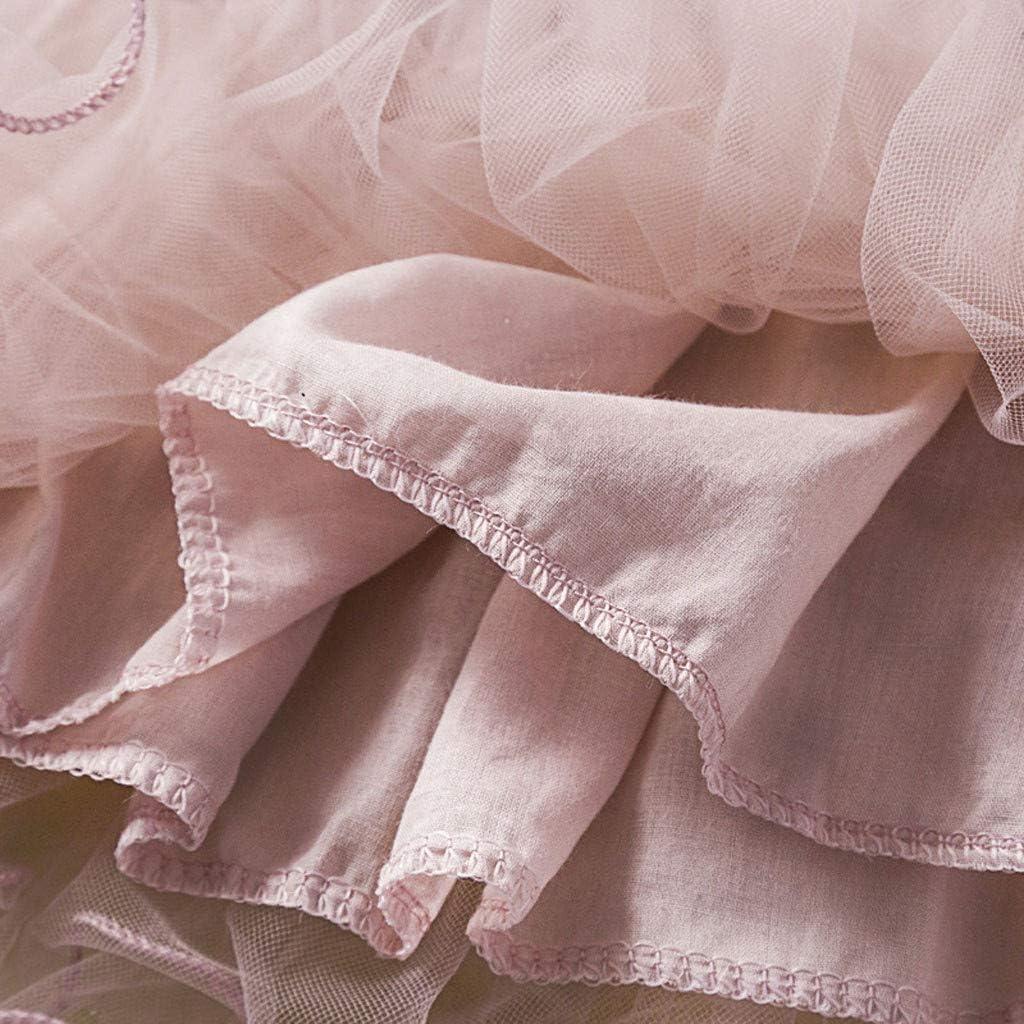 Vinjeely Kids Girls Pink Lace Floral Princess Wedding Party Formal Tutu Dress