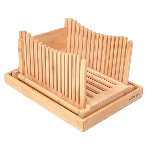 Kinwell Nature Bamboo Foldable Bread Slicer with Crumb Catcher Tray + 20  Bread Bags for Homemade Bread & Loaf Cakes, Thickness Adjustable,Thick &  Thin