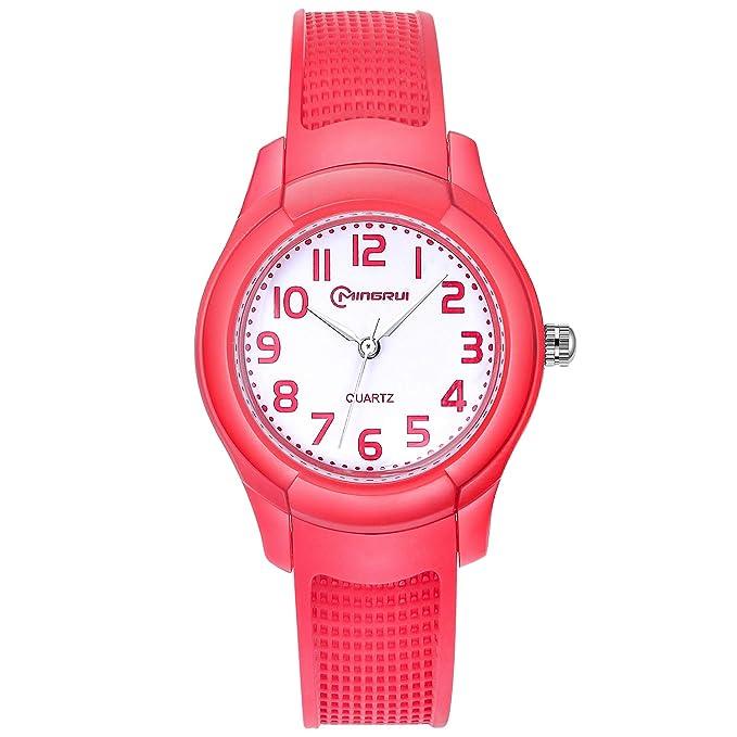 Relojes Analógicos para Niños, Niñas Impermeable Fácil de Leer Relojes de Pulsera con Correa Suave para Niñas (Rojo): Amazon.es: Relojes
