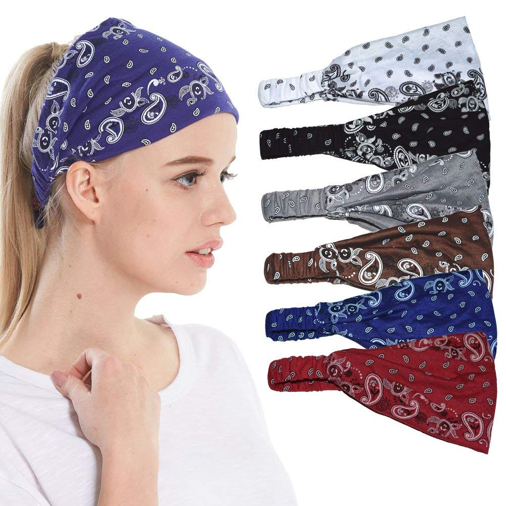 QING Headbands for Women Sweat Wicking Scarf Bandana Elastic Workout Headband Wrap Pack of 6 (paisey 6 Pack) by QING