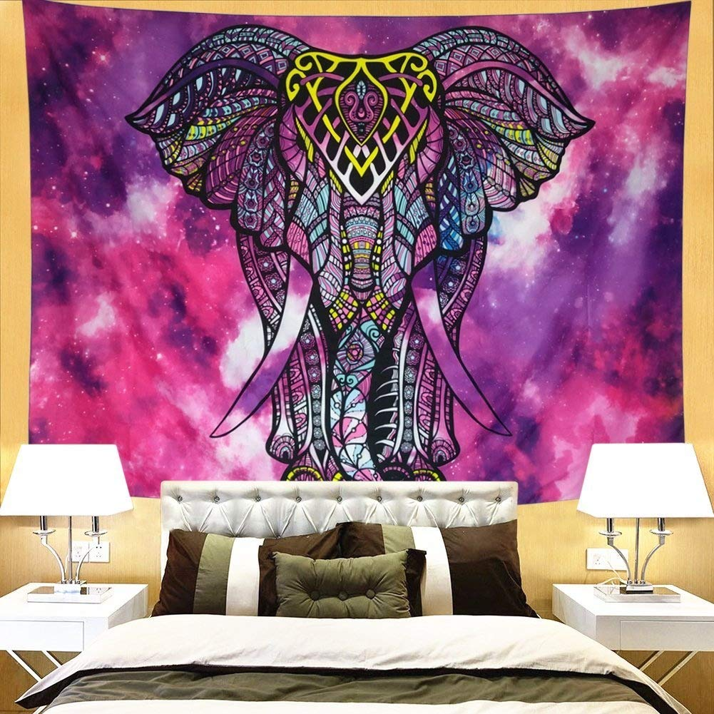 Ameyahud Psychedelic Tapestry Watercolor Indian Tapestry Wall Hanging Bohemian Starry Mandala Wall Tapestries Colorful Elephant Hippie Tapestry Wall Art DIPPERION