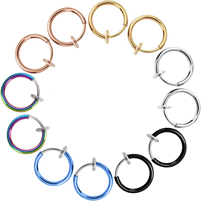 Mudder 12 Pieces Fake Earrings Nose Ear Lip Clip Rings Non-pierced Earring Hoops Body Jewelry for Men and Women 6 Colors Mudder-Boucles d/'Oreilles-01