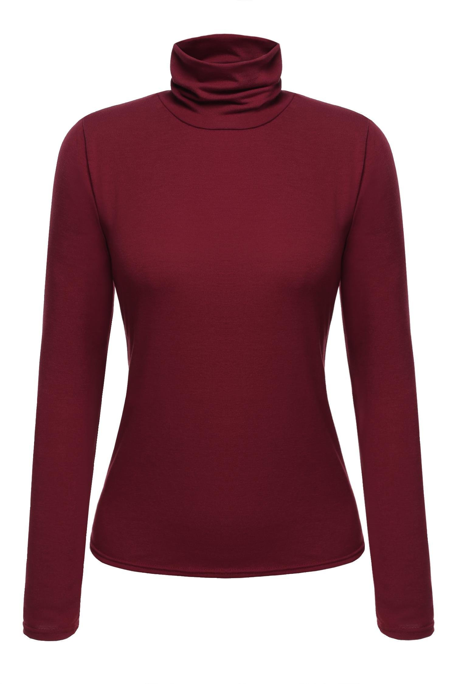 cindere Women's Long Sleeve Turtle Neck Bodycon Top Blouse (S, Wine red)
