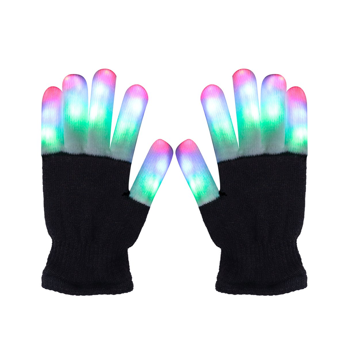 LED Gloves Light Up Rave Gloves Finger Light Gloves Novelty Toy 6 Adjust Mode