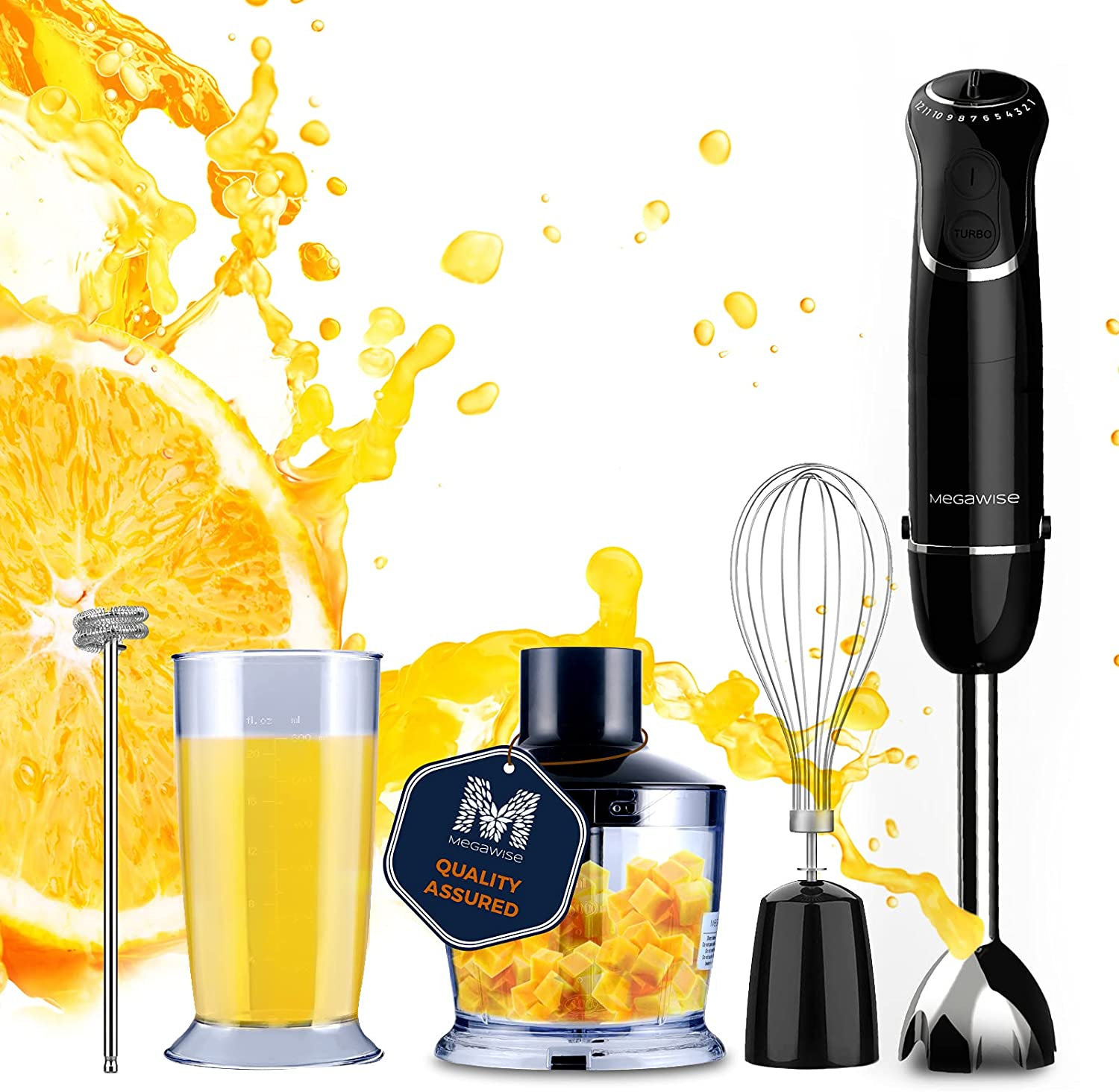 MegaWise Hand Blender Black 800W 5-in-1 Immersion Blender12 Speed and Turbo Mode, Titanium Steel Blades, Comfygrip Handle, with Whisk, Chopper/Grinder Bowl and Beaker/Measuring Cup