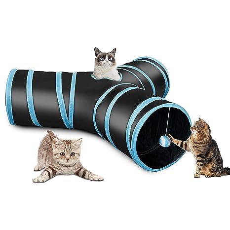Gemeinsa Túnel Plegable para Gatos de 3 Vías con Bola Juguete para Gatos Conejos Cachorros