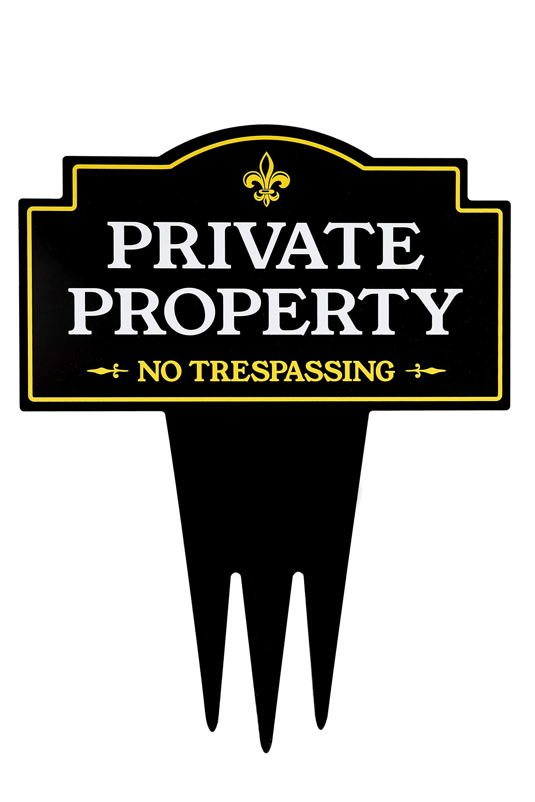 Brookfield Products Private Property No Trespassing Yard Sign with Stake | Unique Triple Self Staking Design | Heavy Duty Dibond Aluminum Material | Stakes Easily in Home Lawn | 16'' Tall x 12.5'' Wide