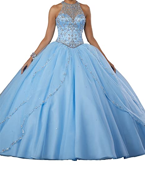 69aaa00976 Amazon.com  MFandy Sweet Girls 16 Ball Gowns High Neck Beaded Quinceanera  Dresses  Clothing
