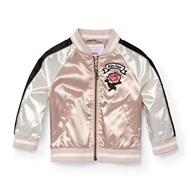 76fbc8889 Amazon.com: The Children's Place Baby Girls Satin Bomber Jacket: Clothing