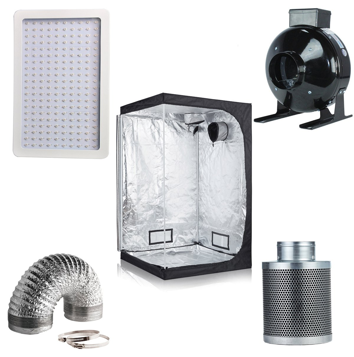 Hongruilite 300w/600w LED Grow Light+Multi-sized Grow Tent+4'' Inline Fan Carbon Air Filter Ducting Combo for Hydroponic Indoor Plant Growing System (600W LED+32''x32''x63''Grow Tent+4''Filter Kit)