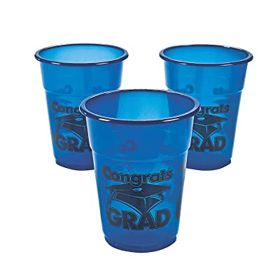 Blue Congrats Grad Disposable Cups (50) for Graduation: Toys & Games