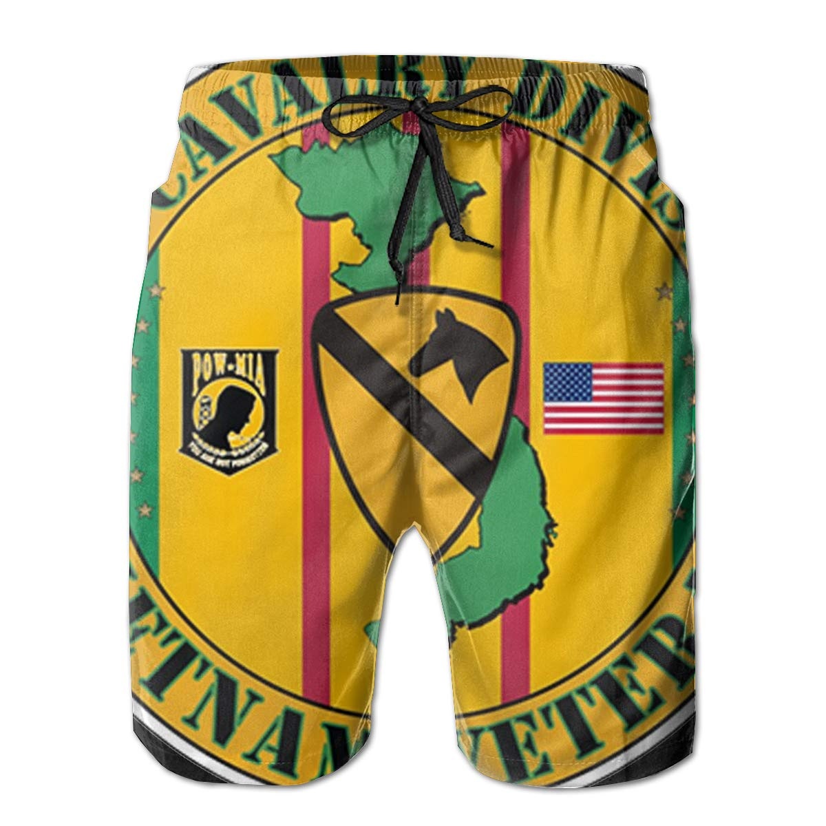 1st Cavalry Division Vietnam Veteran 3D Print Mens Beach Shorts Swim Trunks Workout Shorts Summer Shorts