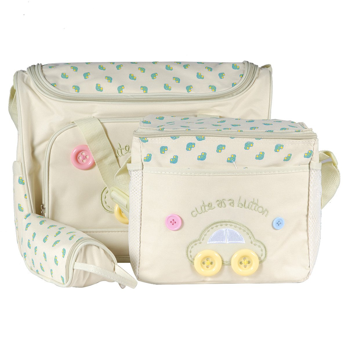 SurePromise 4 PCS Cute Lovely Brand New Button Embroidery Baby Diaper Nappy Changing Bag
