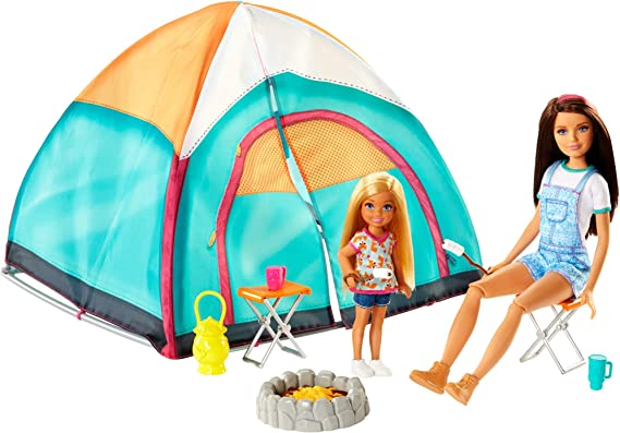 Barbie Camping Playset with Tent, Two Dolls and Accessories, Toy for Children 3+ Years, FNY39