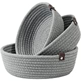 Goodpick 3pack Small Basket - Woven Storage Basket for Living Room Bathroom Storage Basket for Towels Cute Round Basket for B