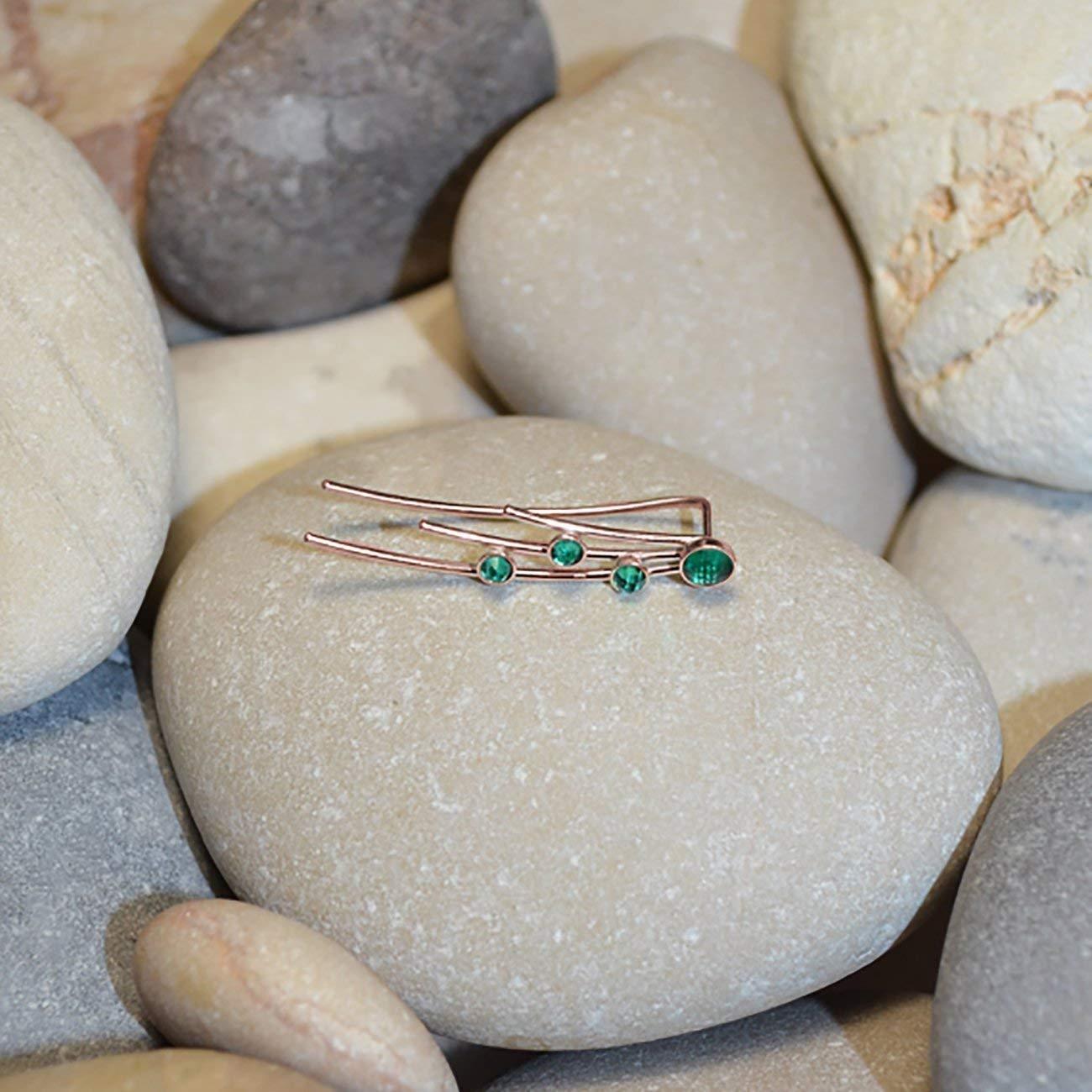 61713992b Amazon.com: Emerald EAR CLIMBER Rose Gold // Emerald Bar Stud - Minimalist  Earring - Emerald Ear Cuff - Post Earrings - Ear Sweep - Earcuff: Handmade