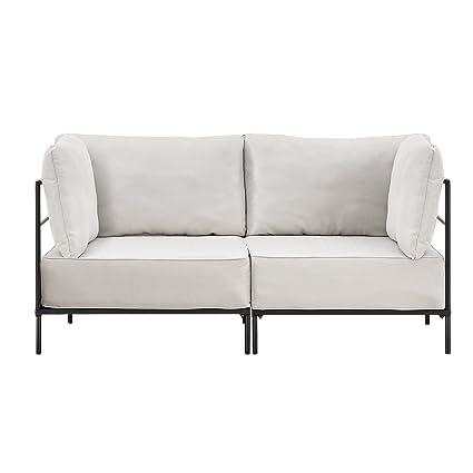 [en.casa]® Sofá de 2 plazas arena - modular - decorativo -