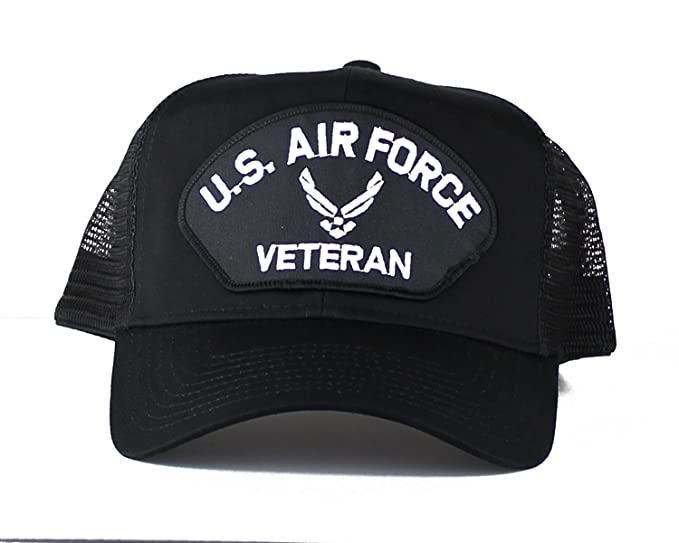 1935fe8e76f OldSchoolUSA Military U.S. Air Force Veteran Wings Large Embroidered Iron  On Patch Snapback Trucker Cap (Black) at Amazon Men s Clothing store