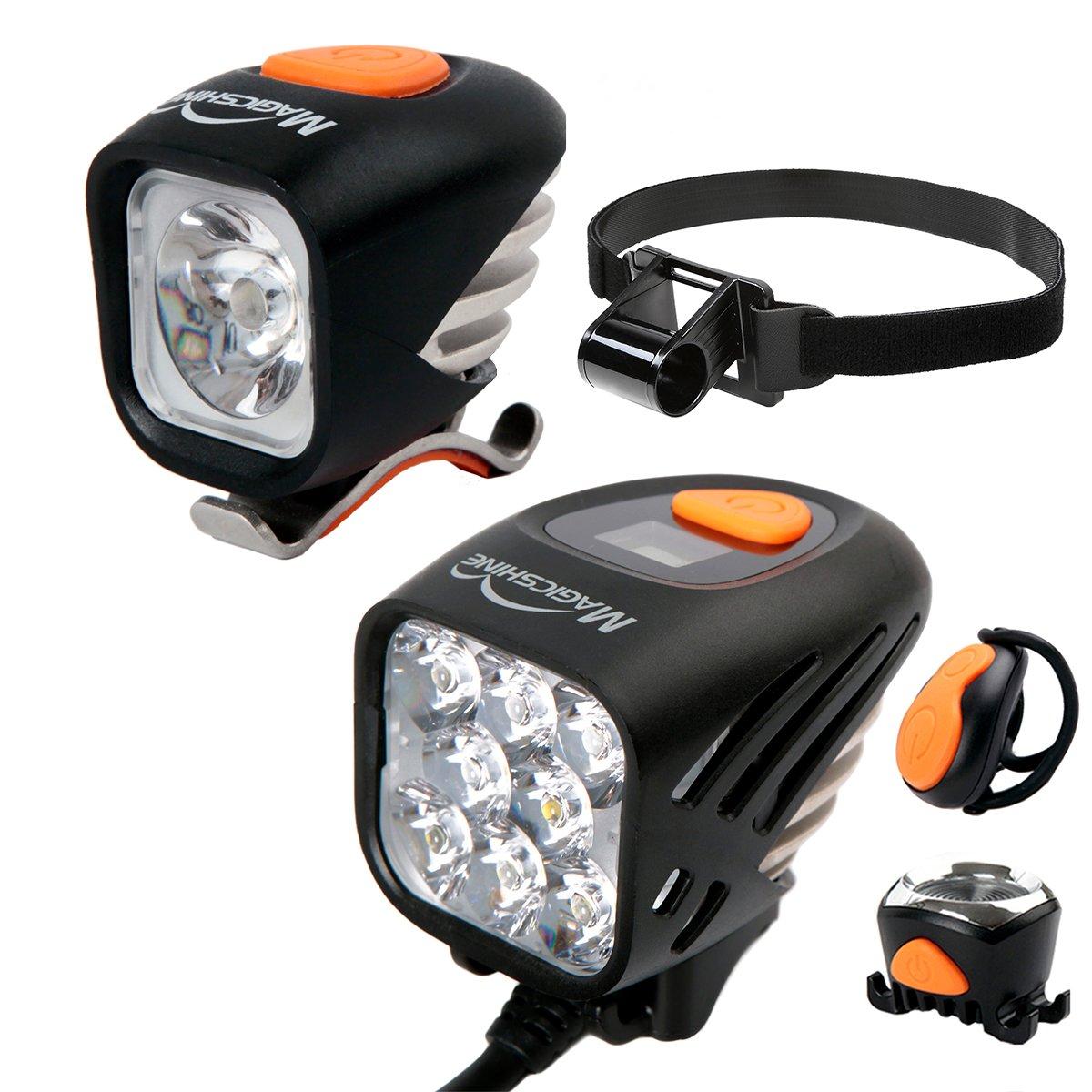Magicshine Ultimate Mountain Bike Light Bundle Deals MJ-908 MJ-900 MJ-6058, 8000 Max Lumen Mountain Bike Headlight, 1200 Lumen CREE headlamp with Helmet Strap Enduro Trail Offroad