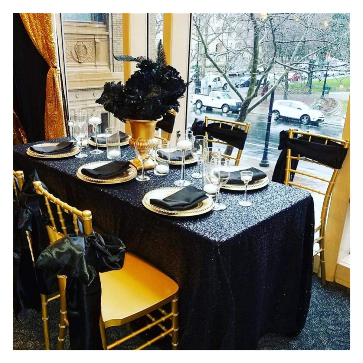 QueenDream 90inchx156inch Sequin Tablecloth-Black for Party Christmas Halloween Thanksgiving Day