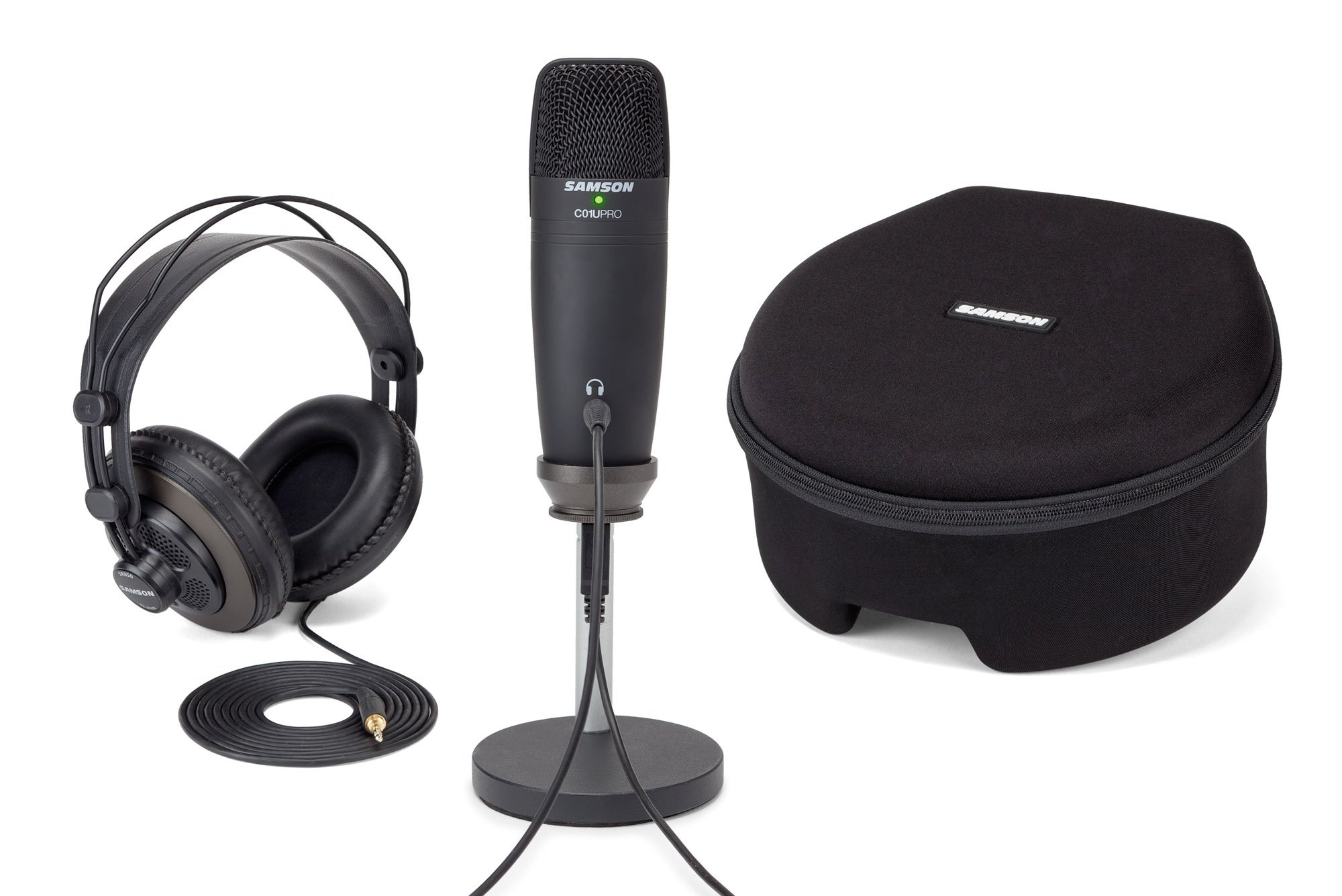 Samson C01U PRO Titanium PACK Digital Recording and Podcasting Pack with SR850 Studio Monitoring Headphones (Black)