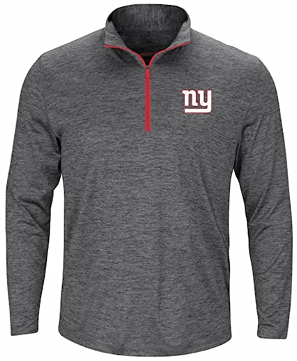 New York Giants NFL Mens Majestic Cool Base Intimidating Half-Zip Fleece  Gray Heather Big 8e9448e3f