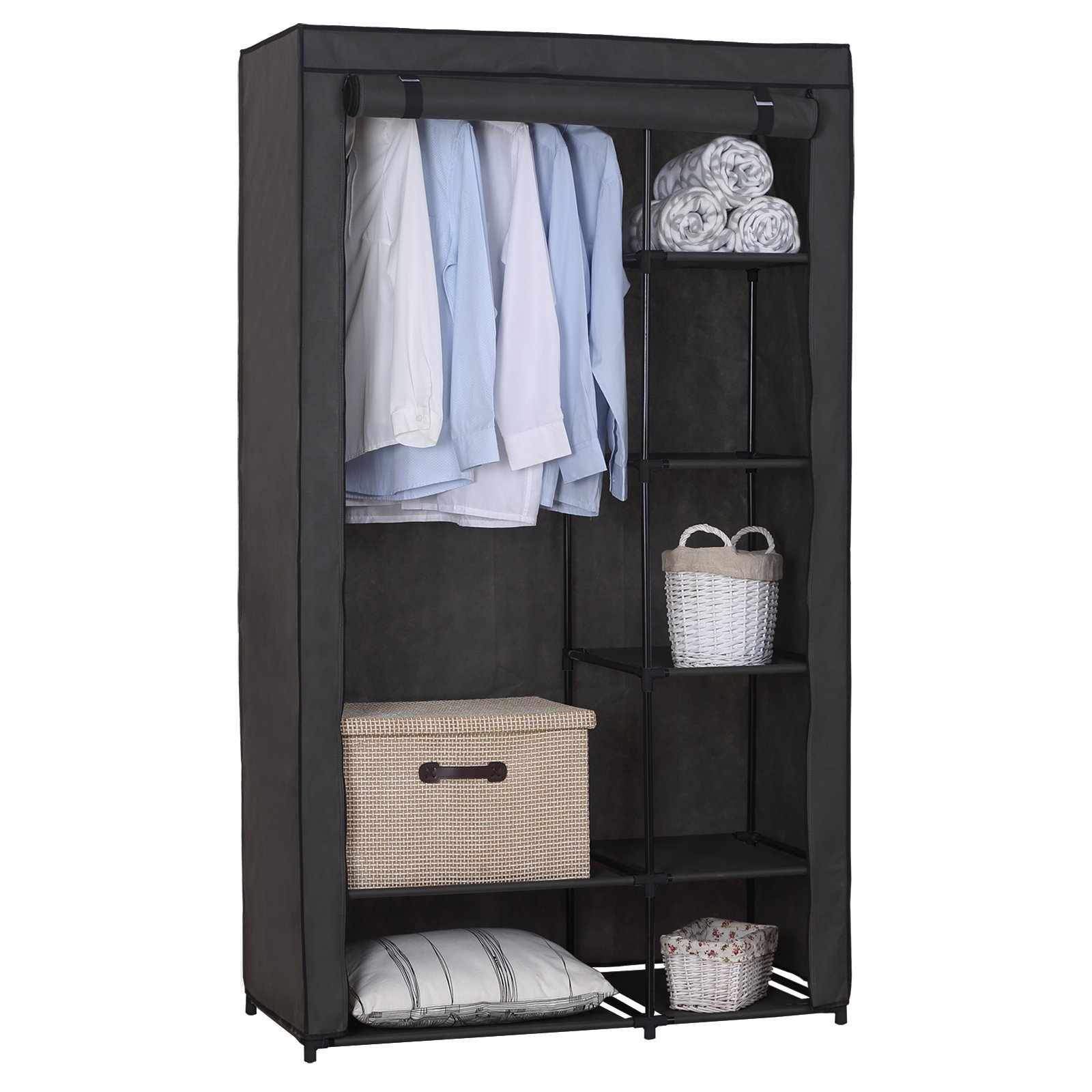 WOLTU Portable Clothes Closet Storage Organizer Rack Grey