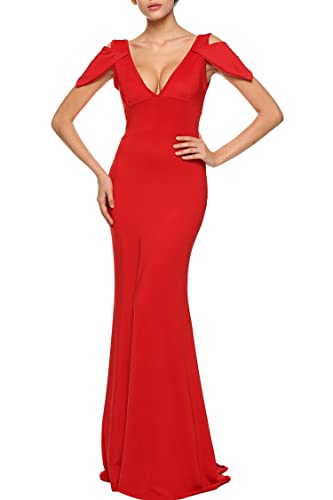ANGVNS Sexy V Neck Backless Maxi Full Length Dress For Summer Wear X-Large