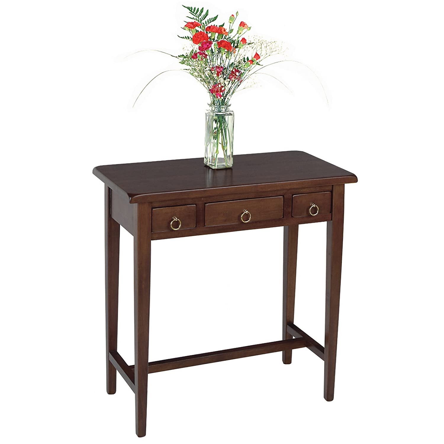 Amazon.com: Winsome Wood Hall Table With 3 Drawers, Walnut: Kitchen U0026 Dining