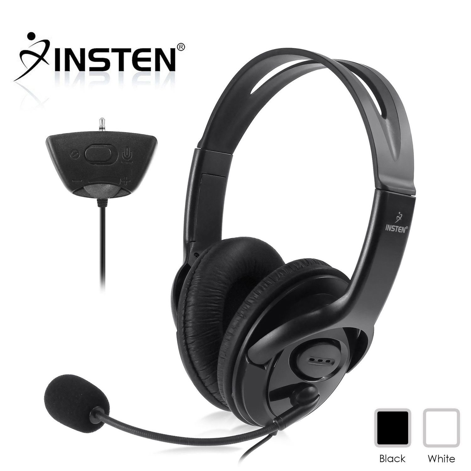 Insten Gaming Headset Headphone with Mic Compatible with Xbox 360 Wireless Controller, Black by INSTEN