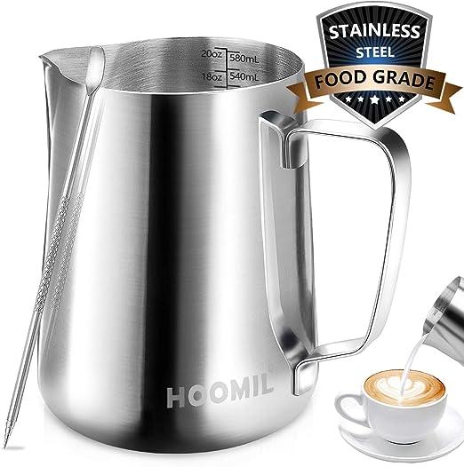 Amazon.com: HOOMIL jarra para espumar leche, jarra de leche ...