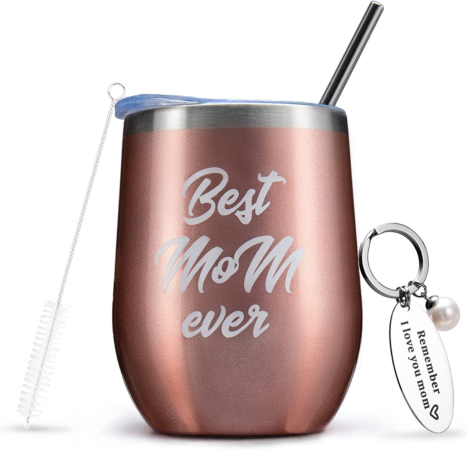 Birthday Gifts for Mom, Best Mom Ever Wine Tumbler with Keychain Funny Sentimental Personalized Gifts for Mom from Son Meaningful, Mothers Day Gifts from Daughter