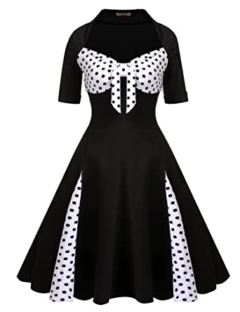 28658f67d90 ACEVOG Women Vintage 1950 s Floral Garden Picnic Dress Cocktail Party Dress(Black  ...