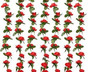 PONKING Artificial Rose Vine Flowers with Green Leaves, 8pcs 66FT Hanging Fake Flower Garland, Roses Vine for Home Hotel Office Wedding Party Garden Craft Wall Decor (Red)