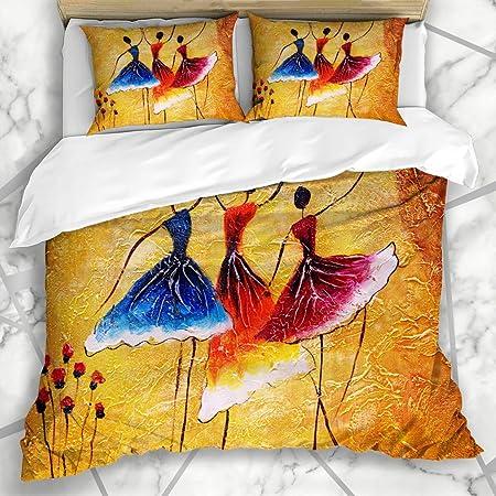 Soefipok Funda nórdica Establece Chica Lienzo Gris Danza Española Pintura Samba Artista Bailarina Dibujo de Ballet Pareja de Microfibra Óleo Ropa de Cama con 2 Fundas de Almohada: Amazon.es: Hogar