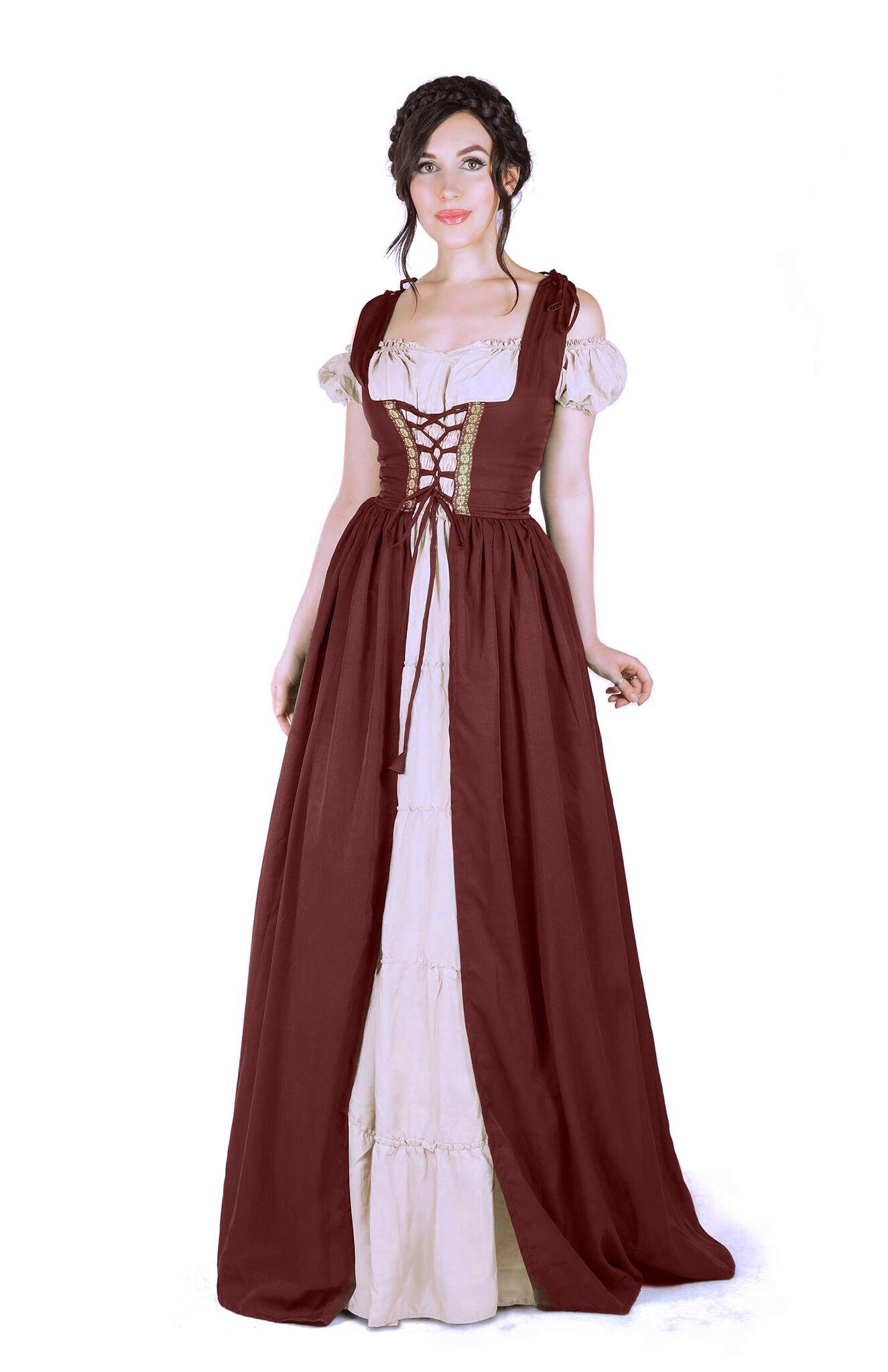Renaissance Medieval Irish Costume Over Dress & Boho Chemise Set (2XL/3XL, Burgundy)