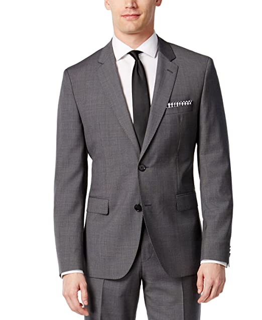 b9e87e31 Hugo Boss Men's Slim Fit Gray 100% Virgin wool 2 piece Suit C-Jeffery
