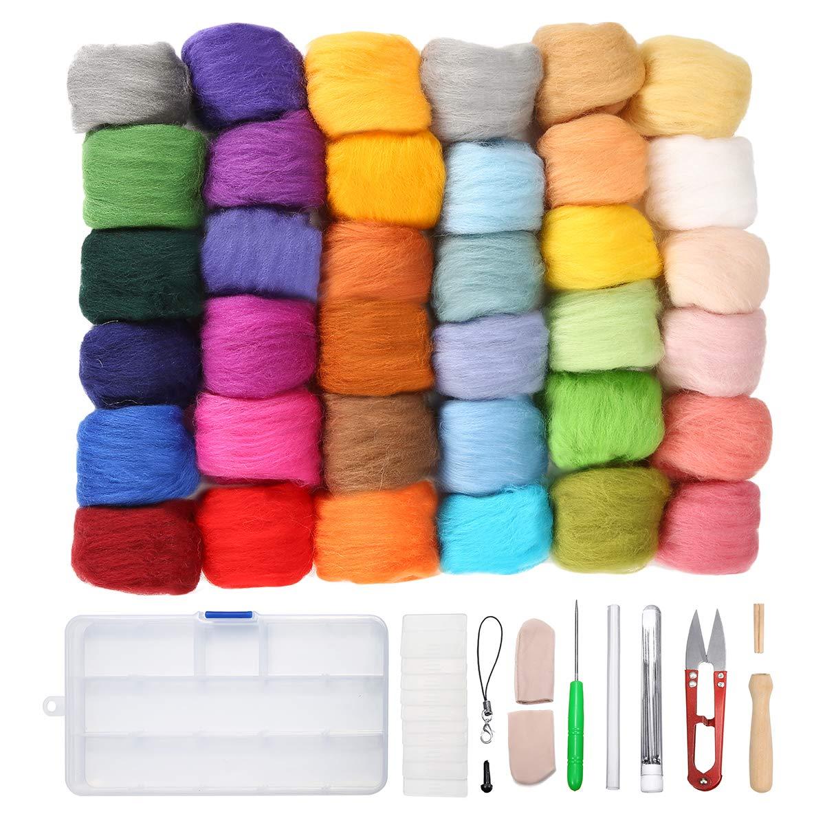 75968dad400cf Jeteven Needle Felting Starter Kit Set, 36 Colours Needle Felting ...